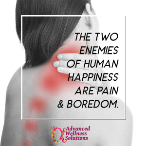 The two enemies of happiness are pain and boredom