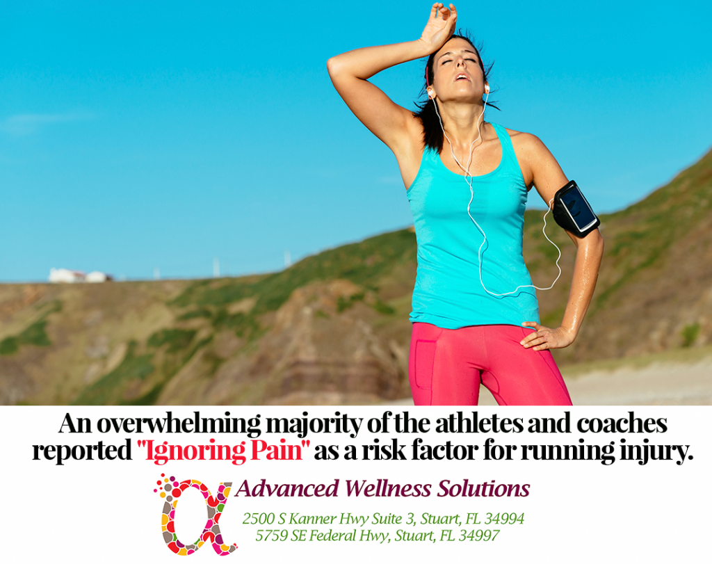 """An overwhelming majority of the athletes and coaches reported """"Ignoring pain"""" as a risk factor for running injury."""