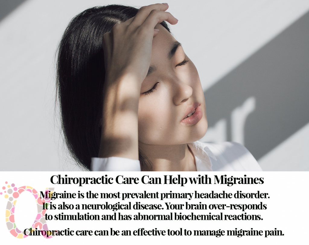 Migraine is the most prevalent primary headache disorder. It is also a neurological disease.Your brain over-responds to stimulation and has abnormal biochemical reactions. Chiropractic care can be an effective tool to manage migraine pain.